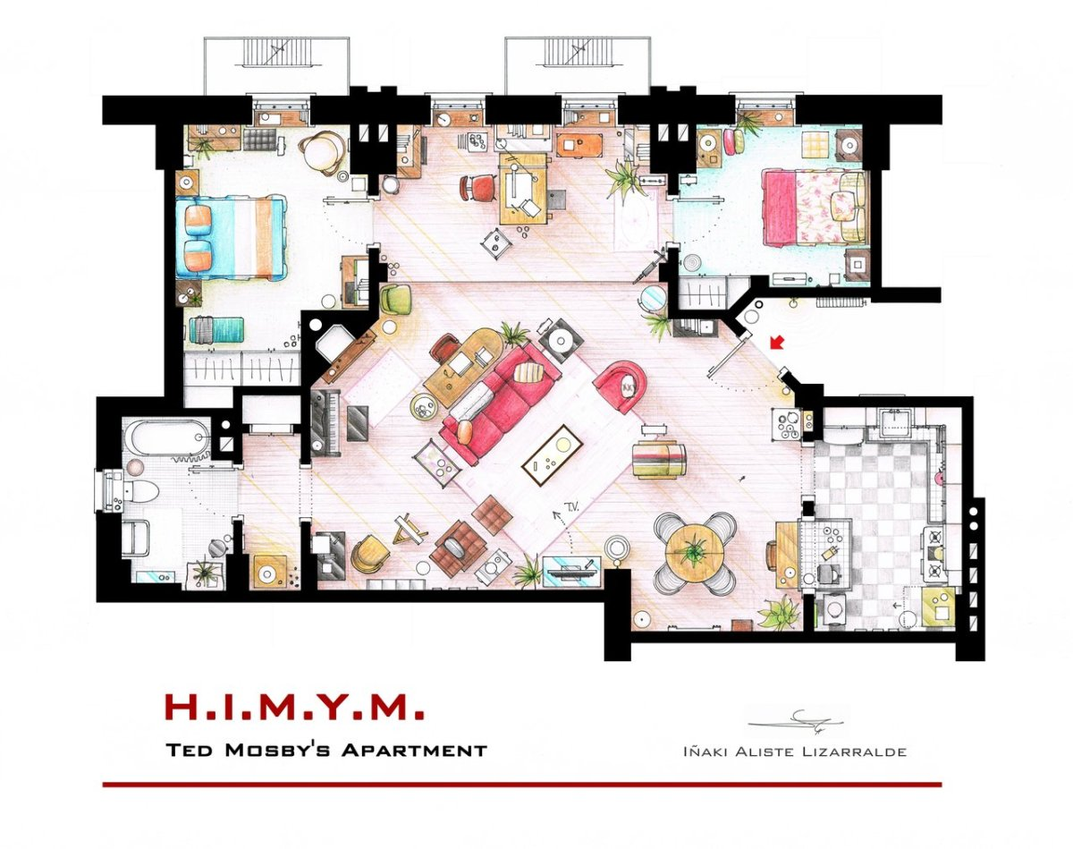 Tv Floorplans How I Met Your Mother The Big Bang Theory Friends Sex And The City Corinawrites